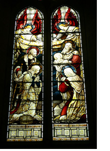 "Stained glass window (1890) in St. Alban's Anglican Church, Copenhagen, Denmark, depicting the ""Nunc dimittis""-scene"